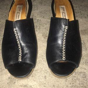 Paul Green munchen Black Leather Slip on Heels